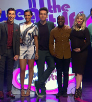 Sweat The Small Stuff. Image shows from L to R: Russell Kane, Rochelle Humes, Nick Grimshaw, Melvin Odoom, Kimberly Wyatt. Copyright: Talkback.