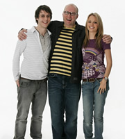 Teenage Kicks. Image shows from L to R: Max (Ed Coleman), Vernon (Adrian Edmondson), Milly (Laura Aikman). Copyright: Phil McIntyre Entertainment.