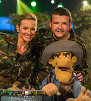 That Puppet Game Show. Image shows from L to R: Gabby Logan, Kevin Bridges. Copyright: BBC.