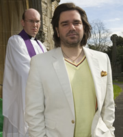 The IT Crowd. Image shows from L to R: Vicar (Alex Macqueen), Douglas Reynholm (Matt Berry). Copyright: TalkbackThames.