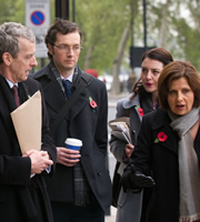 The Thick Of It. Image shows from L to R: Oliver Reeder (Chris Addison), Helen Hatley (Rebecca Gethings), Nicola Murray (Rebecca Front). Copyright: BBC.