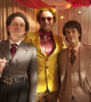 This Is Jinsy. Image shows from L to R: Maven (Justin Chubb), Mr Slightlyman (David Tennant), Sporall (Chris Bran). Copyright: The Welded Tandem Picture Company.
