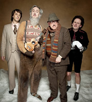 This Is Jinsy. Image shows from L to R: Sporall (Chris Bran), Man With No Nameworm (Nigel Planer), Threcker (Simon Callow), Maven (Justin Chubb). Copyright: The Welded Tandem Picture Company.