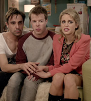 Threesome. Image shows from L to R: Richie (Emun Elliott), Mitch (Stephen Wight), Alice (Amy Huberman). Copyright: Big Talk Productions.