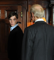 Trinity. Image shows from L to R: Jonty Millingden (Tom Hughes), Dr Edmund Maltravers (Charles Dance). Copyright: Roughcut Television.