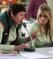 Trollied. Image shows from L to R: Sue (Lorraine Cheshire), Linda (Faye McKeever). Copyright: Roughcut Television.