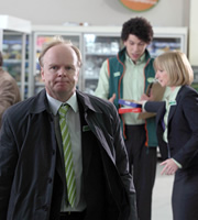 Trollied. Image shows from L to R: Gavin (Jason Watkins), Leighton (Joel Fry), Julie (Jane Horrocks). Copyright: Roughcut Television.