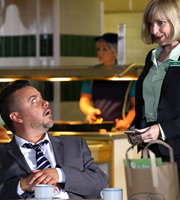 Trollied. Image shows from L to R: Craig Falcon (Lee Boardman), Julie (Jane Horrocks). Copyright: Roughcut Television.