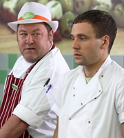 Trollied. Image shows from L to R: Andy (Mark Addy), Kieran (Nick Blood). Copyright: Roughcut Television.
