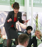 Trollied. Image shows from L to R: Lorraine (Stephanie Beacham), Leighton (Joel Fry), Julie (Jane Horrocks). Copyright: Roughcut Television.