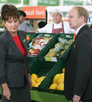 Trollied. Image shows from L to R: Lorraine (Stephanie Beacham), Andy (Mark Addy), Gavin (Jason Watkins). Copyright: Roughcut Television.
