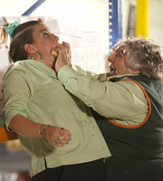 Trollied. Image shows from L to R: Lisa (Beverly Rudd), Rose (Miriam Margolyes). Copyright: Roughcut Television.