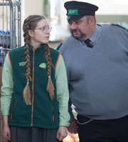 Trollied. Image shows from L to R: Heather (Jessie Cave), Ian (Victor McGuire). Copyright: Roughcut Television.