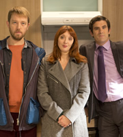 Trying Again. Image shows from L to R: Sam (Alun Cochrane), Gail (Elizabeth Berrington), Andrew (Dan Skinner). Copyright: Avalon Television.