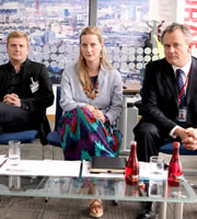Twenty Twelve. Image shows from L to R: Aled Jones, Vicky Long (Catherine Shepherd), Ian Fletcher (Hugh Bonneville). Copyright: BBC.