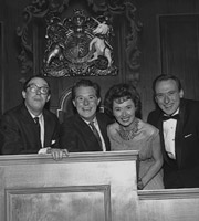 Two Of A Kind. Image shows from L to R: Eric Morecambe, Ernie Wise, Pearl Carr, Teddy Johnson. Copyright: Associated Television.