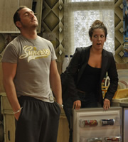 Two Pints Of Lager And A Packet Of Crisps. Image shows from L to R: Gary 'Gaz' Wilkinson (Will Mellor), Donna Henshaw (Natalie Casey). Copyright: BBC.