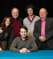 The Unbelievable Truth. Image shows from L to R: Lucy Porter, Clive Anderson, David Mitchell, Chris Addison, Graeme Garden. Copyright: BBC / Random Entertainment.