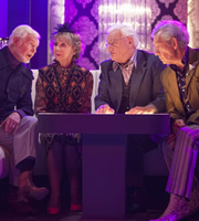 Vicious. Image shows from L to R: Stuart (Derek Jacobi), Penelope (Marcia Warren), Mason (Philip Voss), Freddie (Ian McKellen). Copyright: Brown Eyed Boy / Kudos Productions.