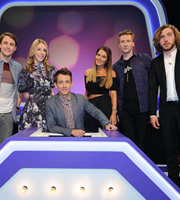 Virtually Famous. Image shows from L to R: Chris Stark, Katherine Ryan, Kevin McHale, Helen Flanagan, Joe Lycett, Seann Walsh. Copyright: Talkback / Hungry Bear Media.