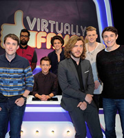 Virtually Famous. Image shows from L to R: Chris Stark, Romesh Ranganathan, Kevin McHale, Bradley Simpson, Seann Walsh, Tristan Evans, Tom Rosenthal. Copyright: Talkback / Hungry Bear Media.