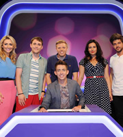 Virtually Famous. Image shows from L to R: Gemma Merna, Chris Stark, Rob Beckett, Kevin McHale, Yasmine Akram, Alex Mytton. Copyright: Talkback / Hungry Bear Media.
