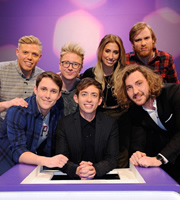 Virtually Famous. Image shows from L to R: Rob Beckett, Chris Stark, Tyler Oakley, Kevin McHale, Stacey Solomon, Seann Walsh, Bobby Mair. Copyright: Talkback / Hungry Bear Media.