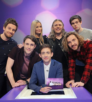 Virtually Famous. Image shows from L to R: Chris Ramsey, Chris Stark, Laura Whitmore, Kevin McHale, Jimmy Bullard, Seann Walsh, Rhys James. Copyright: Talkback / Hungry Bear Media.
