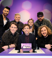 Virtually Famous. Image shows from L to R: Rylan Clark-Neal, Chris Stark, Rob Beckett, Kevin McHale, Sarah Callaghan, Tom Davis, Seann Walsh. Copyright: Talkback / Hungry Bear Media.