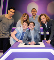 Virtually Famous. Image shows from L to R: Russell Kane, Roisin Conaty, Chris Stark, Kevin McHale, Joe Swash, Seann Walsh. Copyright: Talkback / Hungry Bear Media.