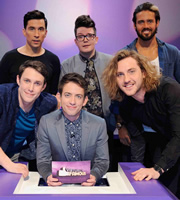 Virtually Famous. Image shows from L to R: Chris Stark, Russell Kane, Kevin McHale, David Morgan, Seann Walsh, Spencer Matthews. Copyright: Talkback / Hungry Bear Media.