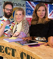 W1A. Image shows from L to R: Barney Lumsden (Alex Beckett), Coco Lomax (Sara Pascoe), Siobhan Sharpe (Jessica Hynes). Copyright: BBC.