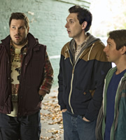 Way To Go. Image shows from L to R: Cozzo (Marc Wootton), Scott (Blake Harrison), Joey (Ben Heathcote). Copyright: BBC.