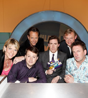 Would I Lie To You?. Image shows from L to R: Fern Britton, David Mitchell, Richard E. Grant, Rob Brydon, Martin Clunes, Lee Mack. Image credit: Zeppotron.