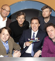 Would I Lie To You?. Image shows from L to R: Gregg Wallace, David Mitchell, Nigel Havers, Rob Brydon, Charlie Brooker, Lee Mack. Copyright: Zeppotron.
