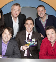 Would I Lie To You?. Image shows from L to R: David Mitchell, Greg Davies, Rob Brydon, Phil Tufnell, Lee Mack. Copyright: Zeppotron.