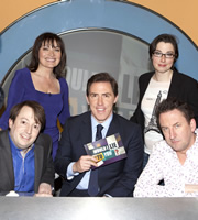 Would I Lie To You?. Image shows from L to R: David Mitchell, Lorraine Kelly, Rob Brydon, Sue Perkins, Lee Mack. Copyright: Zeppotron.