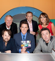 Would I Lie To You?. Image shows from L to R: David Mitchell, Chris Tarrant, Rob Brydon, Alexander Armstrong, Alex Jones, Lee Mack. Image credit: Zeppotron.