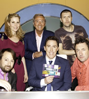 Would I Lie To You?. Image shows from L to R: David Mitchell, Sally Phillips, Des O'Connor, Rob Brydon, Rhod Gilbert, Lee Mack. Copyright: Zeppotron.