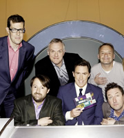 Would I Lie To You?. Image shows from L to R: Richard Osman, David Mitchell, Greg Davies, Rob Brydon, Bob Mortimer, Lee Mack. Copyright: Zeppotron.