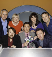 Would I Lie To You?. Image shows from L to R: Huw Edwards, David Mitchell, Sarah Millican, Rob Brydon, Josie Lawrence, Lee Mack, Bradley Walsh. Copyright: Zeppotron.