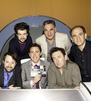 Would I Lie To You?. Image shows from L to R: David Mitchell, Jack Whitehall, Rob Brydon, Jim Carter, Lee Mack, Armando Iannucci. Copyright: Zeppotron.