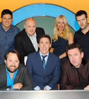 Would I Lie To You?. Image shows from L to R: Vernon Kay, David Mitchell, Dara O Briain, Rob Brydon, Denise Van Outen, Lee Mack, Rhod Gilbert. Copyright: Zeppotron.