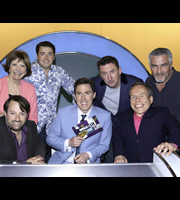 Would I Lie To You?. Image shows from L to R: Joan Bakewell, David Mitchell, Jason Manford, Rob Brydon, Lee Mack, Warwick Davis, Paul Hollywood. Copyright: Zeppotron.