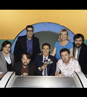 Would I Lie To You?. Image shows from L to R: Susan Calman, Richard Osman, David Mitchell, Rob Brydon, Carol Kirkwood, Lee Mack, David O'Doherty. Copyright: Zeppotron.