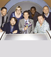 Would I Lie To You?. Image shows from L to R: Jon Richardson, David Mitchell, Sarah Millican, Rob Brydon, David Harewood, Lee Mack, Bob Mortimer. Copyright: Zeppotron.