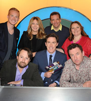 Would I Lie To You?. Image shows from L to R: Greg Rutherford, David Mitchell, Kirsty Young, Rob Brydon, Henning Wehn, Joanna Scanlan, Lee Mack. Copyright: Zeppotron.