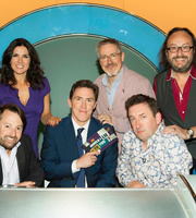 Would I Lie To You?. Image shows from L to R: David Mitchell, Susanna Reid, Rob Brydon, Griff Rhys Jones, Lee Mack, Dave Myers. Copyright: Zeppotron.