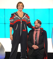 Would I Lie To You?. Image shows from L to R: Miranda Hart, David Mitchell. Copyright: Zeppotron.
