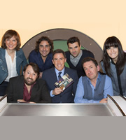 Would I Lie To You?. Image shows from L to R: Fiona Bruce, David Mitchell, Micky Flanagan, Rob Brydon, Steve Jones, Lee Mack, Claudia Winkleman. Copyright: Zeppotron.